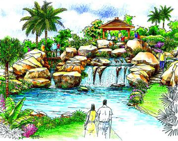 一组漂亮的园林景观手绘效果图