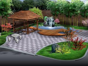 小庭院景观设计效果图-庭院设计效果图