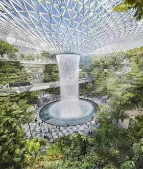这个机场有森林有乐园,还有瀑布