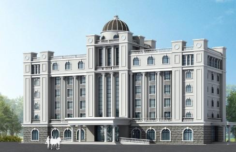 附图-欧式办公楼罗马柱四层楼高应该怎么做比较好